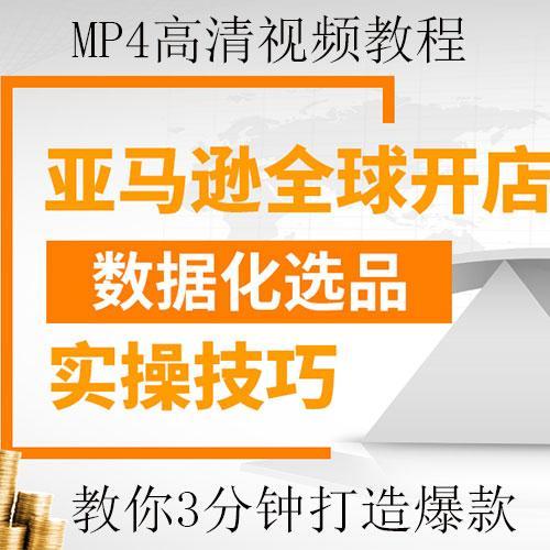 外贸市场亚马逊全球化开网店数据化选品实操MP4视频教程,教你3分钟选出爆款产品的技巧